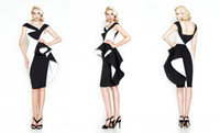 Cheap 2015 Fashionable Prom Dresses Black And White Knee Length Cocktail Dresses Peplum Backless Evening Dresses Short Party Dresses Custom Made