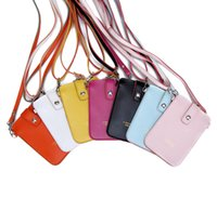 Women bag lady promotions - 6pcs Promotion ladies girl Synthetic Leather small Candy Color Mobie phone Purse Bag Pouch Colors