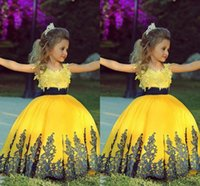 Wholesale 2015 Fashionable Yellow Ball Gown Girl Toddler Pageant Dresses With Black Sash Lace Applique Custom Wedding Flower Girl Prom Party Gowns ZC