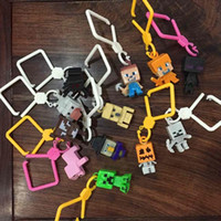 Wholesale New Arrivals Minecraft Mini figures quot Mini Hangers Figure Keychains Toys Mine craft Creeper Steve Figure Backpack Pendant Clip Free DHL