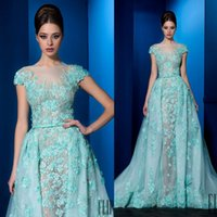 ali blue - 3D Appliqued Evening Dresses Sheer Jewel Cap Sleeves Ali Al Khechen Evening Gowns Sweep Train A Line Prom Dress