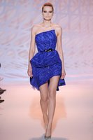 Cheap Zuhair Murad Short Evening Dresses 2015 High Quality Royal Blue Strapless Off the Shoulder Sexy Sequins Sheath Prom Gowns ZH13