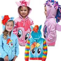 Wholesale My Little Pony Hoodies Baby Girls Cartoon Hoodies Zipper Cardigan Jacket Children Clothing