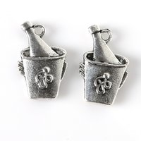 antique ice bucket - Vintage mm Antique Silver Plated Ice Bucket Beer Zinc Alloy Charms Pendants For Jewelry Findings