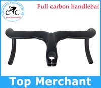 Road Bikes carbon - Only g Road carbon handlebar full carbon bike handlebar without paint no stickers integrated handlebar with stem caliber mm