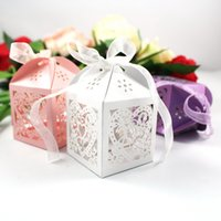 Cheap 50Pcs lot Heart Laser Cut Candy Favour Boxes With Ribbon for Wedding Party Table Decoration Wholesales -1BOX-AX