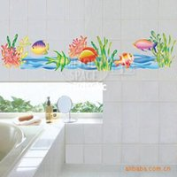 bathroom discounts - Wall stickers home decoration pvc sticker discount wall stickers Grass waterproof bathroom waist decoration sticker LD823A B