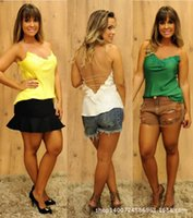 Cheap 2015 Hot Sell Women Clothing European leg sexy lace halter sleeveless blouse wild style clothes for women
