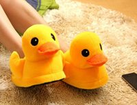 Wholesale New Yellow Duck Slippers Women Winter Men Winter Home Flats Christmas Gift