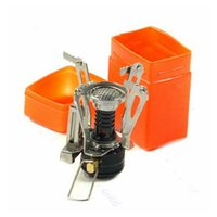 gas stoves - Portable Outdoor Picnic Gas Burner Foldable Camping Mini Steel Stove Case With Electron lighter
