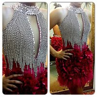 attractive prom dress - Shining Silver Crystal Bead Sequins High Neck Feathers Cocktail Dresses With Flowers Backless Short Mini Prom Dress Party Gowns Attractive