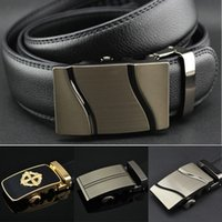 Wholesale Men Auto Buckle Genuine Leather Waist Strap Belts Formal Ratchet Adjustable DH