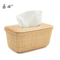 Wholesale Rattan pumping paper box rattan knitted fashion home tissue box household rustic wool paper towel tube table napkin box
