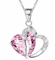 Wholesale high quality fashion trend heart shaped women crystal Necklaces Pendants charms silver jewelry with chain woman necklace