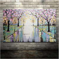 Wholesale Handpainted Pink Flowers Road Street Lamp Abstract Palette Knife Oil Painting On Canvas Wall Decoration For Home