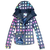 Wholesale gsou women s colorful grid ski jacket skiwear for women snow wear anorak waterproof K windproof breathable free ship