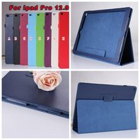 Wholesale 2015 New Slim Smart Folding Book Leather Stand Cover For iPad Pro inch Leechee Litchi PU Tablet Holder Pouch Case Skin