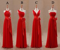designer tights - 2015 Red Bridesmaids Dresses Uk Tight Pleats Elegant Bow Knot Chiffon Long Designer Plus size Bridesmaid Party Dresses