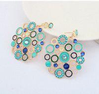 accessorize design - 2015 New Fashion Design Blue Color Enamel Round Bijoux Dangle Drop Earrings For Women ZC1P8 earrings accessorize