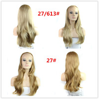 Wholesale Fashion Ombre Blonde Wig Long Wavy women Wig Synthetic hair Wigs for Women hairpieces Free Ship