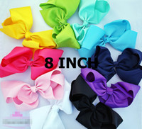 Wholesale 8 quot INCH big bows large with clip girls boutique bows Bowknot hairpin Hair accessories
