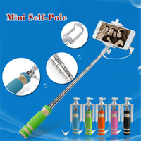 Wholesale Super Mini Monopod Selfie Stick Supreme Shortest Pocket Folding Selfie Stick Wired Monopods With Cable For iPhone Samsung note