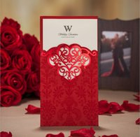 Cheap 2015 Elegant Red Laser Cut Wedding Invitations Card Wishmade Free Personalized & Customized Blank Inner Sheet Red Envelope Free Shipping