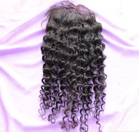"""Brazilian Hair Natural Color Curly Cheap brazilian virgin silk base closure 3.5x4"""" Bleached Knots curly can be dyed free middle parting"""