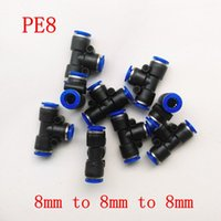 Wholesale 10pcs Pneumatic Air Fitting mm to mm to mm T Shape Quick Fitting Connector PE8