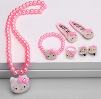 beaded ear rings - NEW Kids Children Cartoon Kitty Cat Set Necklace Beaded Strand Necklace performance necklace bracelet hairpin Ear clip Jewelry SET HH36