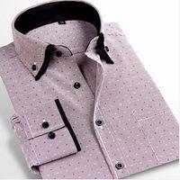 100% cotton men dress shirts - Mens Shirts Fashion Spring New Arrival Double layer Folding Collar Long Sleeve Geometric Print Casual Slim Fit Men Shirt