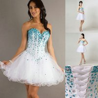 crystals for sale - Short Casual Beach Party Dresses For Women Girls Hot Sale Classic Crystals Beaded Bling Bling Little White Lace up Ball Prom Gowns New