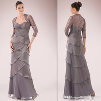 Cheap Glamour Gray Mother Of The Bride Dresses With Lace Jacket Chiffon Sheath Long 2015 Wedding Guests Gowns Grecian Style Custom Made