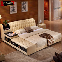Wholesale Leather bed tatami simple leather art leather bedroom furniture double bed factory direct specials
