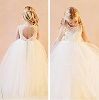Wholesale Cheap Lace Flower Girls Dresses For Weddings Open Back White Ivory Bow Kids Floor Length Bridal Gown Little Girls Pageant Dress