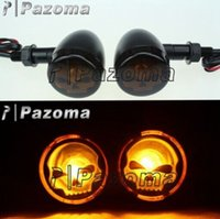 replicas - TURN SIGNALS LIGHT CHROME AMBER TURN SIGNAL MARKER LIGHTS SKULL LENS for OLD HARLEY BOBBER MOTORCCLE PARTS Pazoma