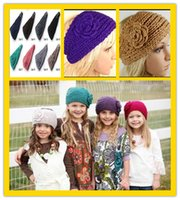 Wholesale 20Colors Newest Women s Fashion Hair Jewelry Wool Crochet Headband Knit Hair band Flower Winter Ear Warmer Free DHL J508