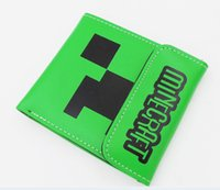 Wholesale 120pcs Minecraft pu Wallet anime figure kawaii Leather Wallet buckle purse Birthday gifts Boys and girls wallet LY