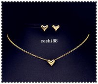good quality jewelry - Promotions good quality New fashion jewelry set heart necklace stud gift for women girl low price S607