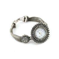 Wholesale Fashion Casual Antique Silver Wide Layered Chain Vogue Round Bracelet Flower Quartz Wristwatches