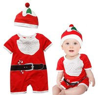 Wholesale Babies Rompers Christmas Gifts Kids Santa Claus Babysuits Short Sleeves Cotton Clothes With Hat Factory Price Sizes Free UPS
