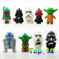 Wholesale USB Memory Stick Cartoon Star Wars USB Flash Drives Storages Robot Yoda Darth Vader Boba Fett Stormtrooper