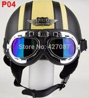 half face helmet - Leather Half Bol Vespa Cycling Open Face Motorcycle Black Yellow Helmets Casco Goggles Adult S M L XL