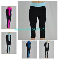ladies trousers - Women Fitness Pocket Capri Pants Leggings Stretched Gym Yoga Jogging Cropped Pants Mid Waist Workout Sports Capris Lady Casual Trousers
