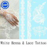 Wholesale 2015 hot waterproof tattoo body art beautiful bridal white henna lace tattoo fashion temporary tattoo stickers