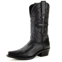 western boots - Vintage Mens Black Full Grain Cowhide Genuine Leather Stitched Shaft Mid Calf Chunky Medium Heel Western Boots Cowboy Boots