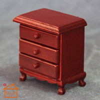 bedside cupboards - Drop sale Cheapest price dollhouse diy handmade mini Bedside cupboard doll house furniture three drawer bedside cabinet