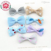 Cheap 76Y (100pcs Lot ) Handmade DIY Children Hair Accessory Fancy Pattern Satin Craft Ribbon Bow Tie Scrapbooking Embellishment