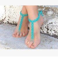 Wholesale NEW Hot Women Cotton Crochet Circle Barefoot Sandals Bridal Barefoot Sandals beach foot jewelry Wedding Barefoot Sandals