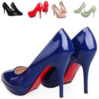 leather pumps - Plus Size Red Bottom High Heels Shoes Women Pumps Sweet Candy Color Wedding Shoes Dress Pumps Sapatos Femininos